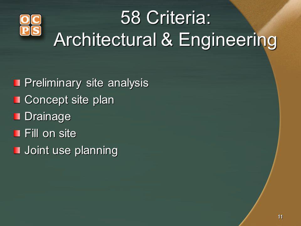 58 Criteria: Architectural & Engineering