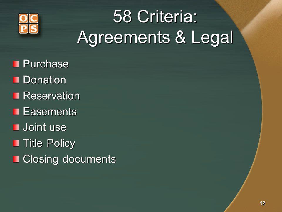 58 Criteria: Agreements & Legal