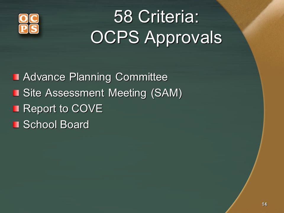 58 Criteria: OCPS Approvals
