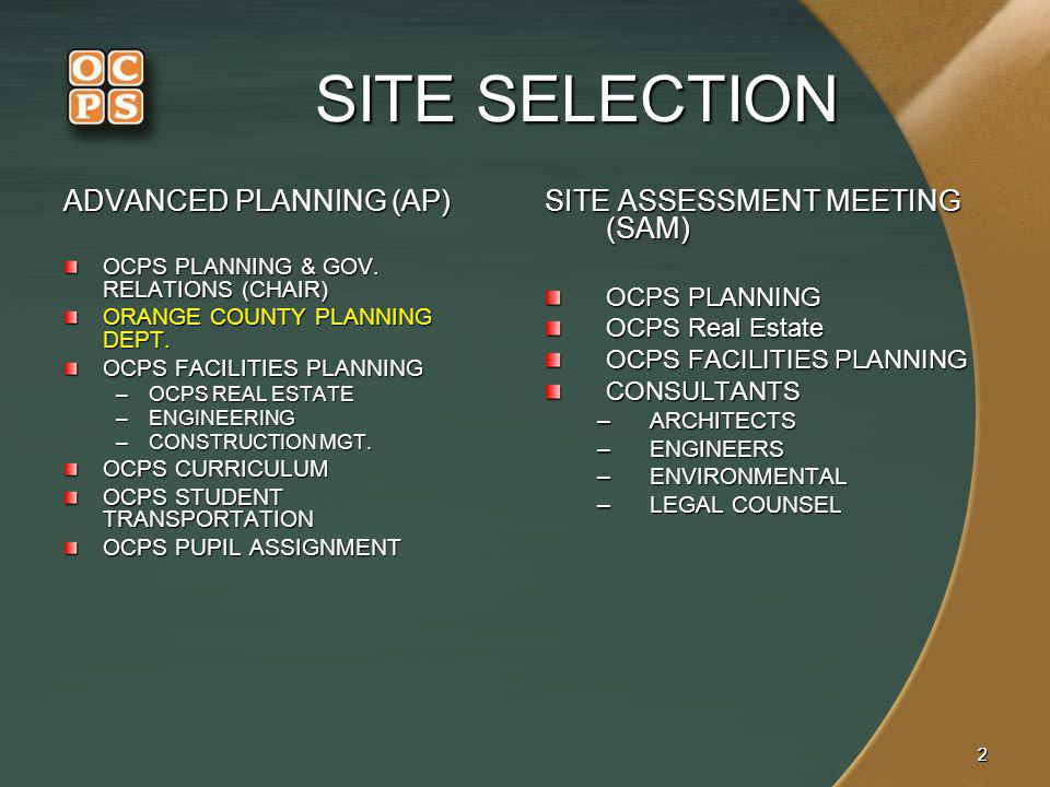 SITE SELECTION ADVANCED PLANNING (AP) SITE ASSESSMENT MEETING (SAM)