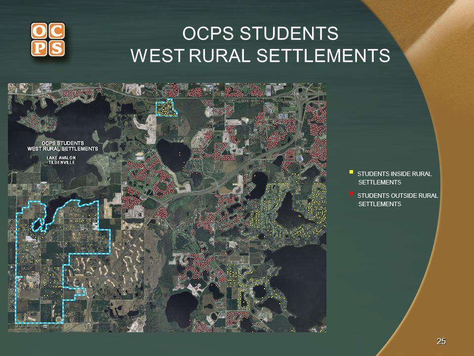 OCPS STUDENTS WEST RURAL SETTLEMENTS