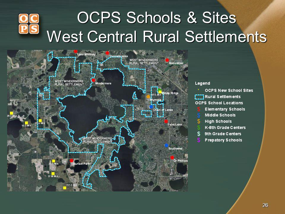 OCPS Schools & Sites West Central Rural Settlements