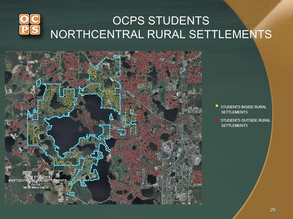 OCPS STUDENTS NORTHCENTRAL RURAL SETTLEMENTS