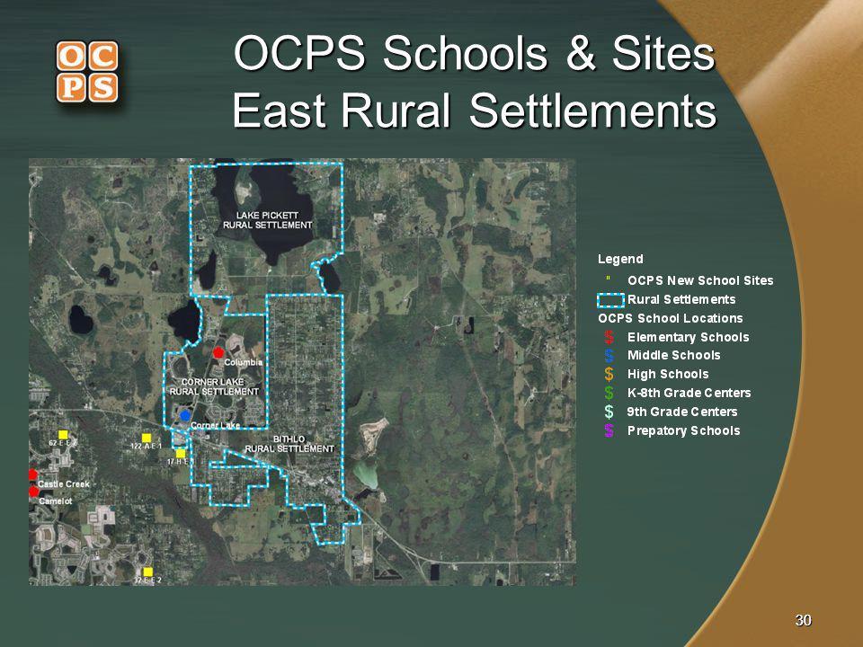 OCPS Schools & Sites East Rural Settlements
