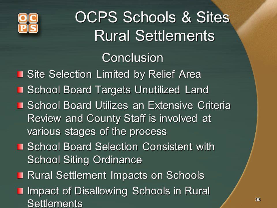 OCPS Schools & Sites Rural Settlements