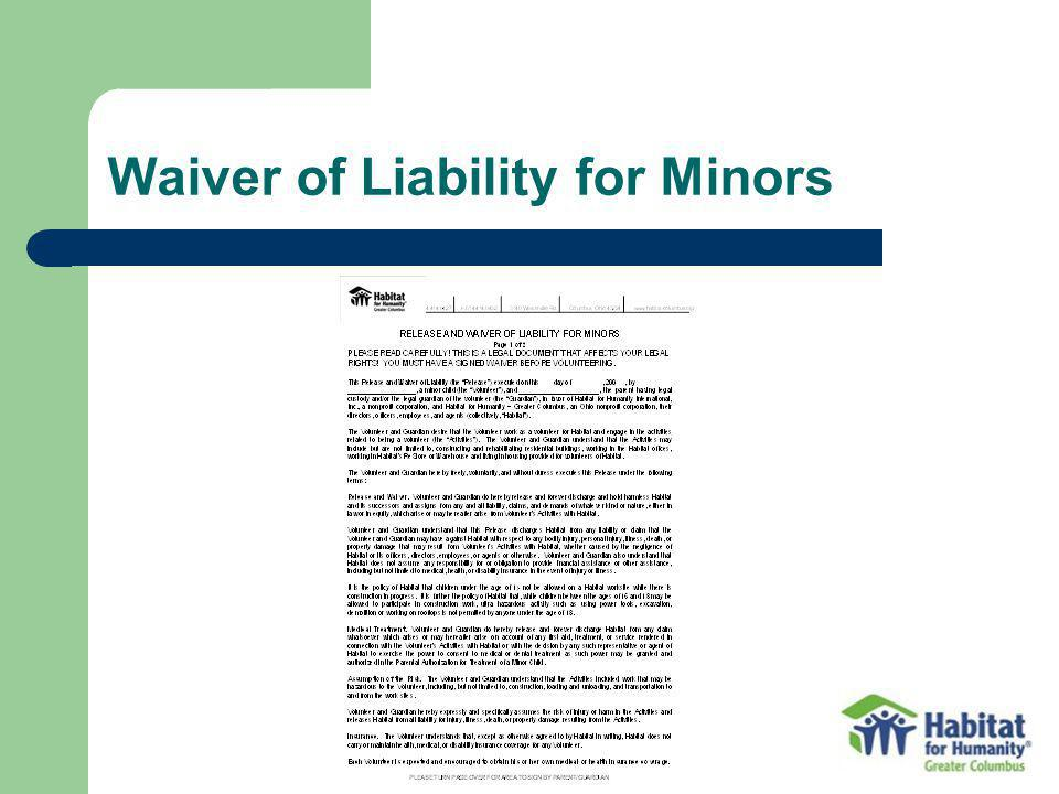 Waiver of Liability for Minors
