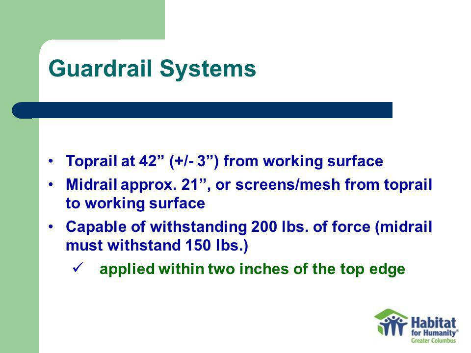 Guardrail Systems Toprail at 42 (+/- 3 ) from working surface