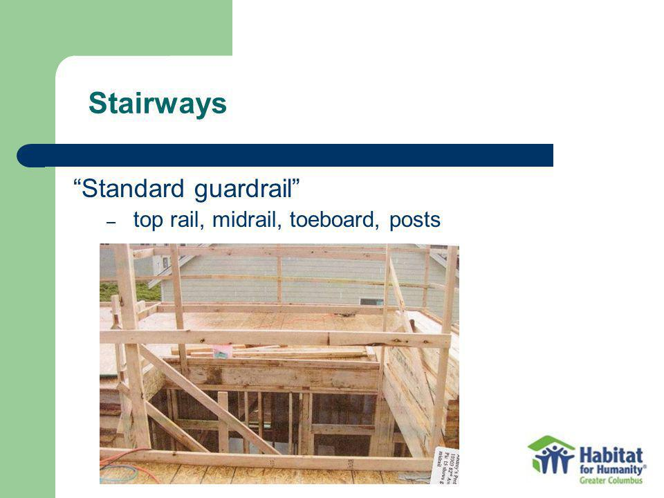 Stairways Standard guardrail top rail, midrail, toeboard, posts