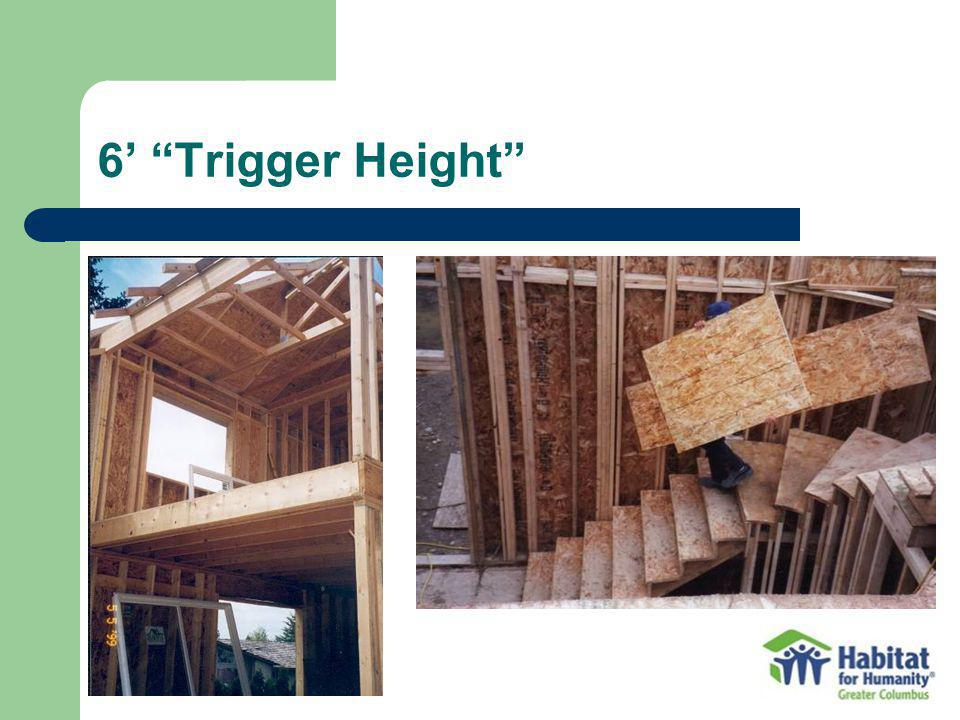 6' Trigger Height Open sided surfaces, window openings and stairs have to be guarded when the fall exposure is 6' or greater.