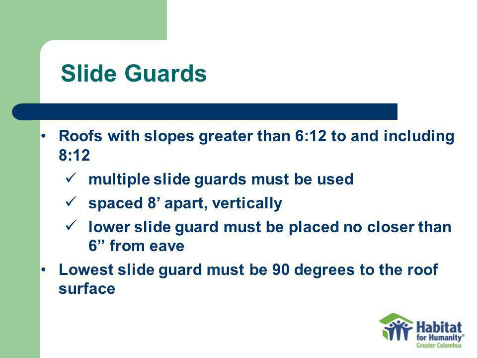 Slide Guards Roofs with slopes greater than 6:12 to and including 8:12