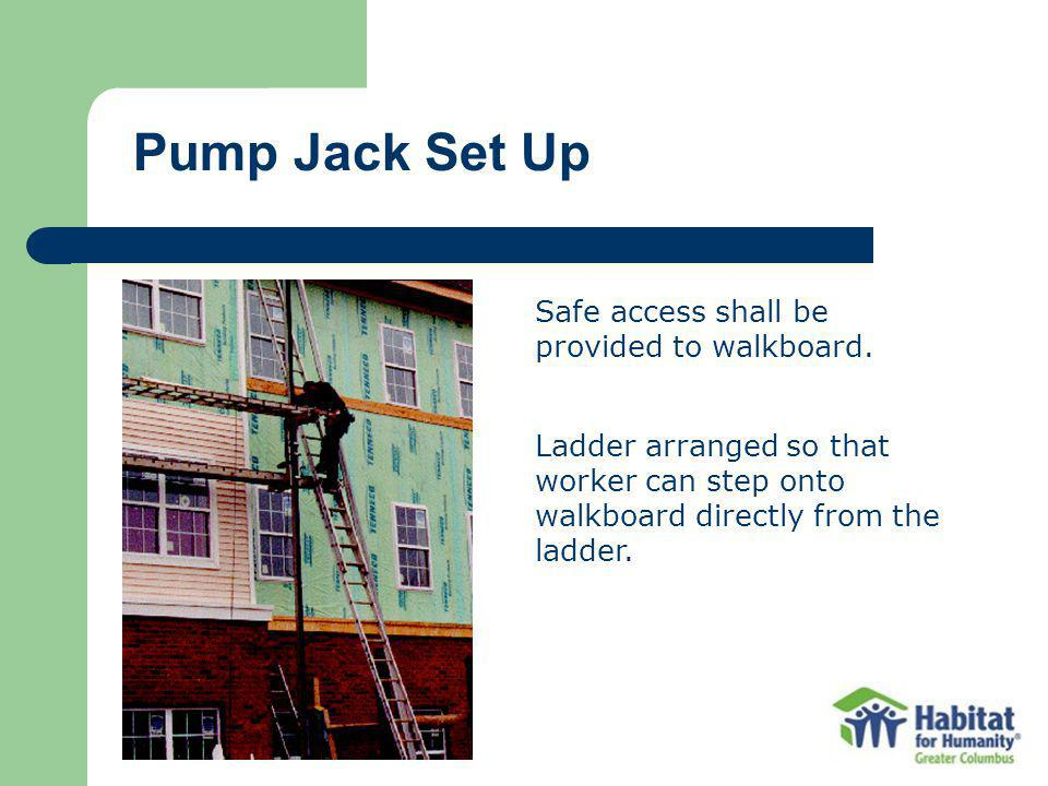 Pump Jack Set Up Safe access shall be provided to walkboard.