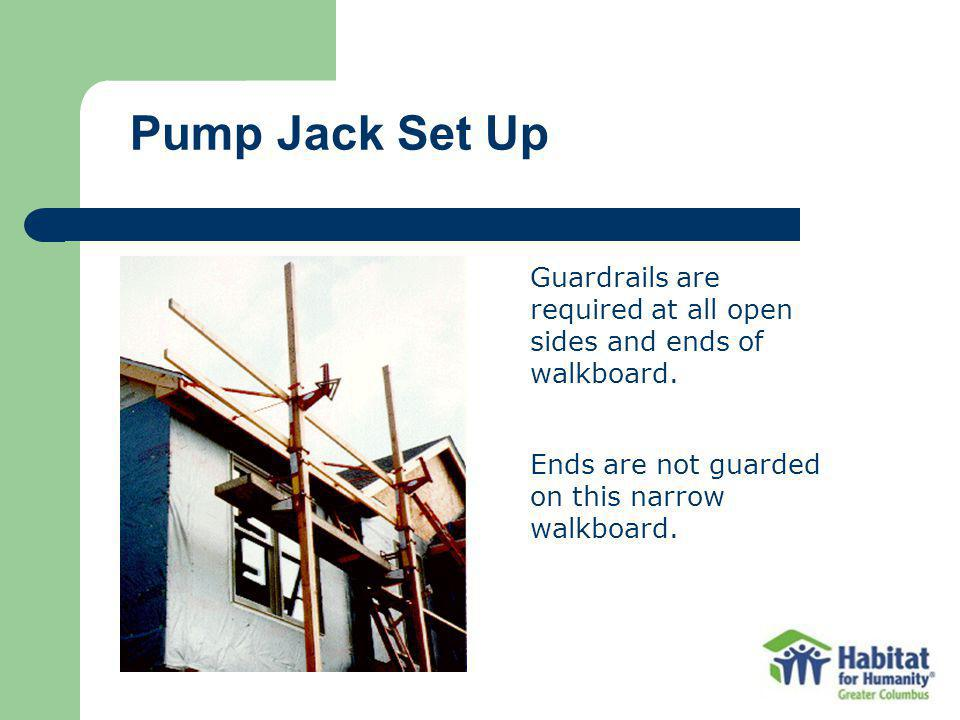 Pump Jack Set Up Guardrails are required at all open sides and ends of walkboard. Ends are not guarded on this narrow walkboard.