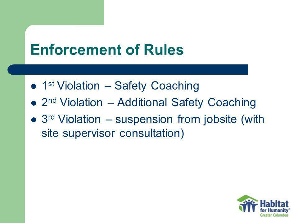 Enforcement of Rules 1st Violation – Safety Coaching