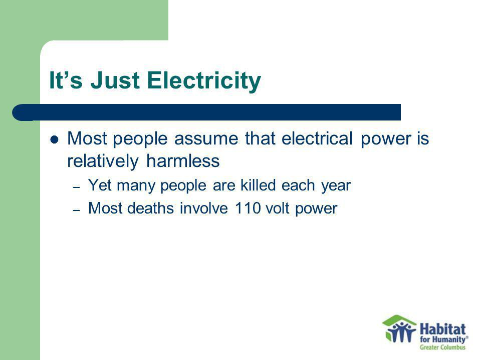 It's Just Electricity Most people assume that electrical power is relatively harmless. Yet many people are killed each year.