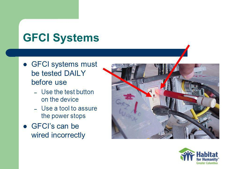 GFCI Systems GFCI systems must be tested DAILY before use