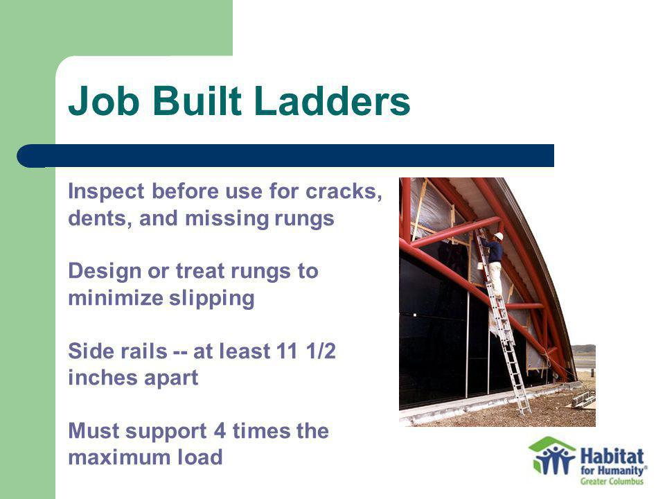 Job Built Ladders Inspect before use for cracks, dents, and missing rungs. Design or treat rungs to minimize slipping.
