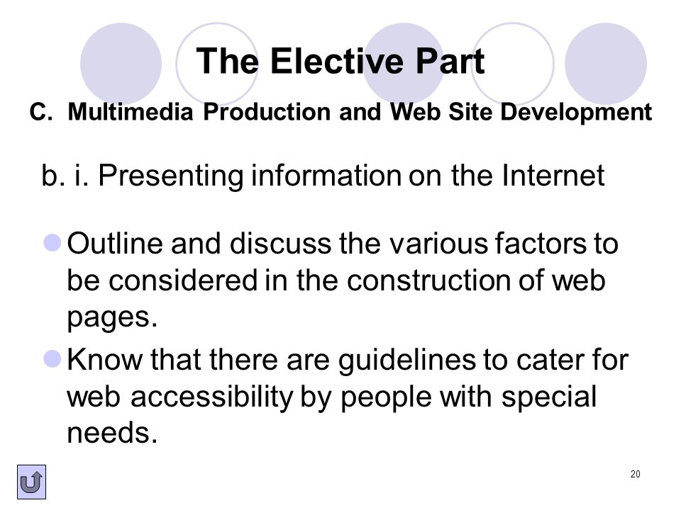 b. i. Presenting information on the Internet