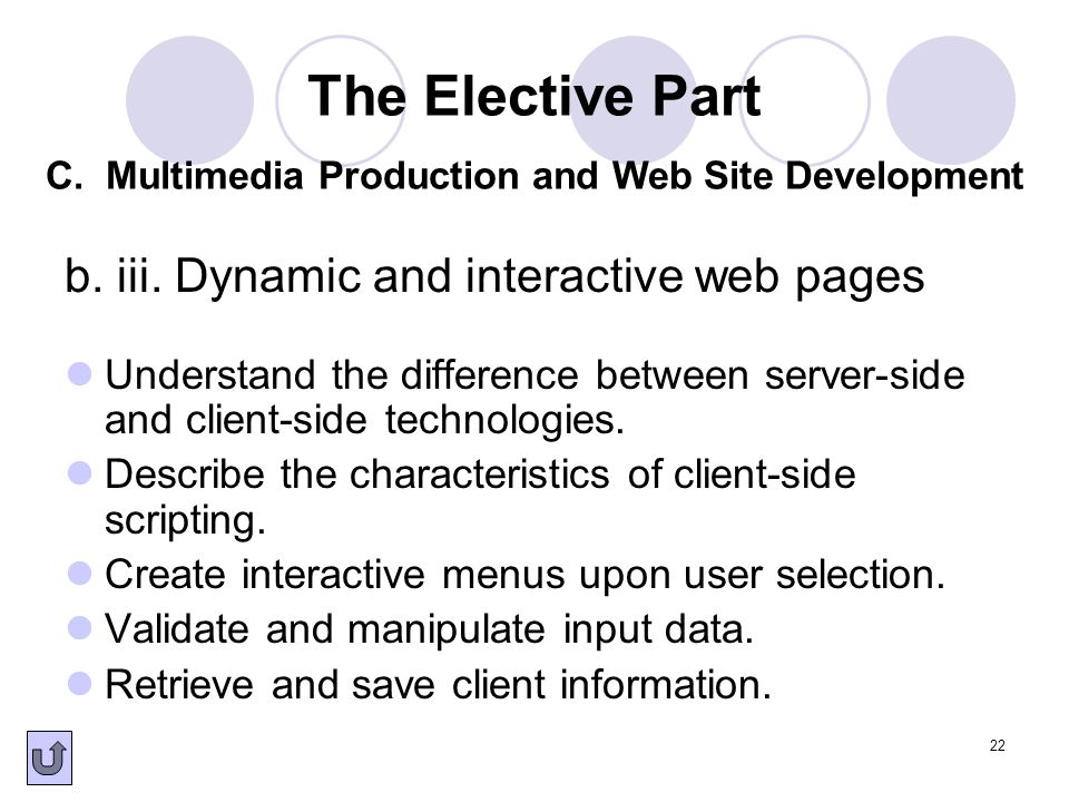 b. iii. Dynamic and interactive web pages