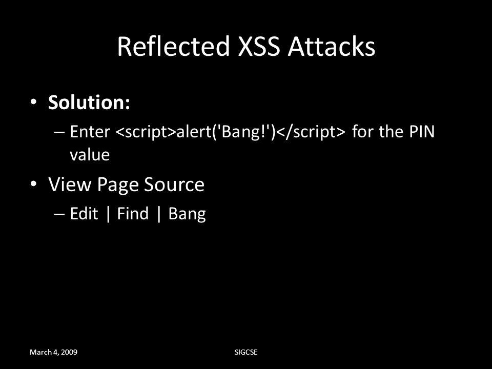 Reflected XSS Attacks Solution: View Page Source