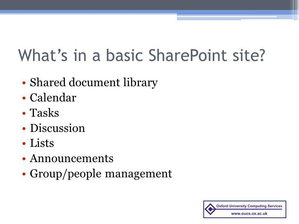 What's in a basic SharePoint site