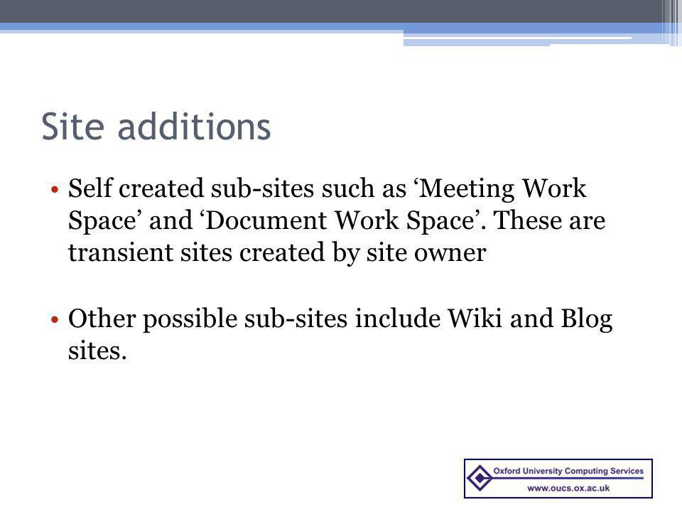 Site additions Self created sub-sites such as 'Meeting Work Space' and 'Document Work Space'. These are transient sites created by site owner.