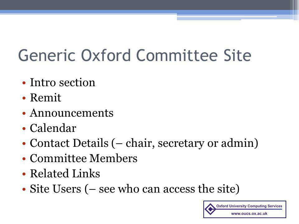 Generic Oxford Committee Site