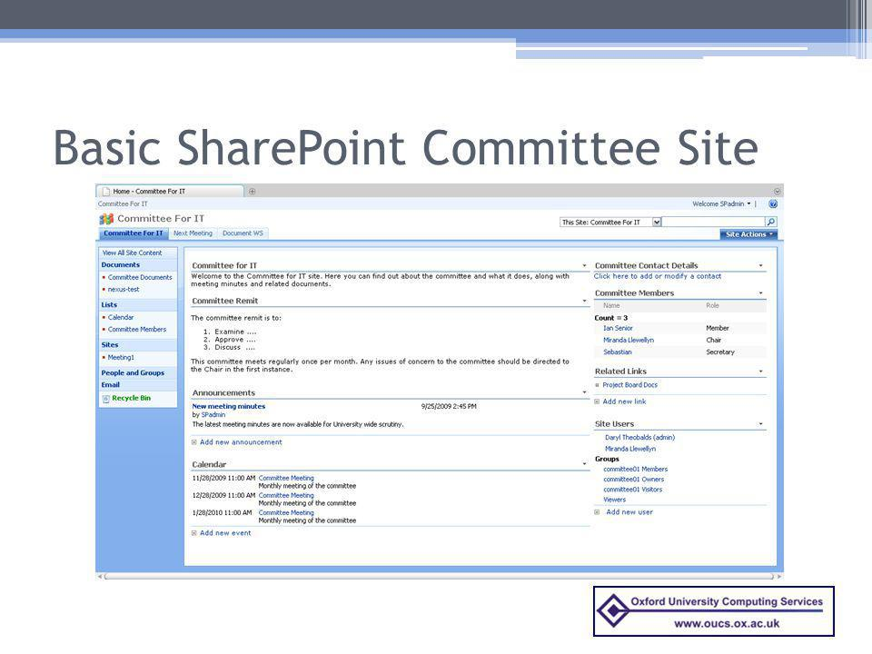 Basic SharePoint Committee Site