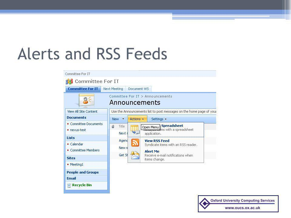 Alerts and RSS Feeds