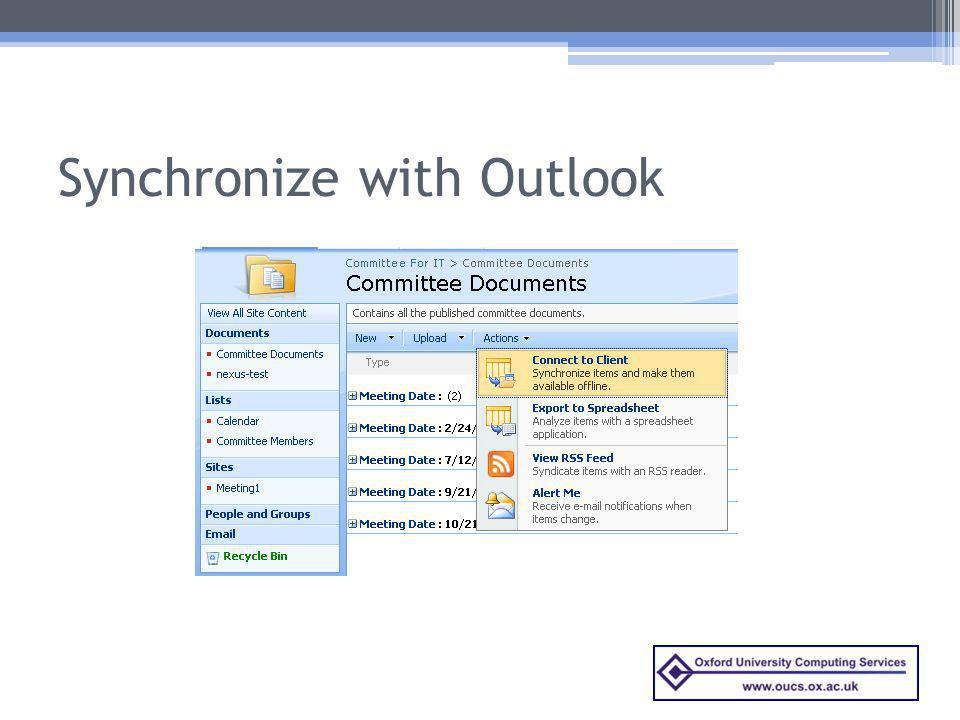 Synchronize with Outlook