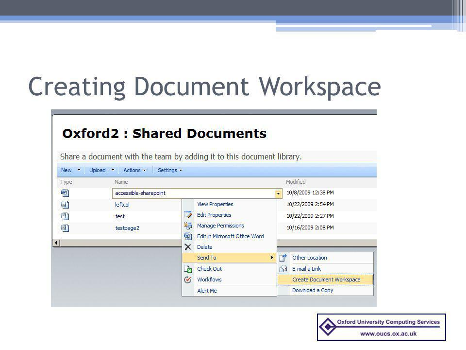 Creating Document Workspace