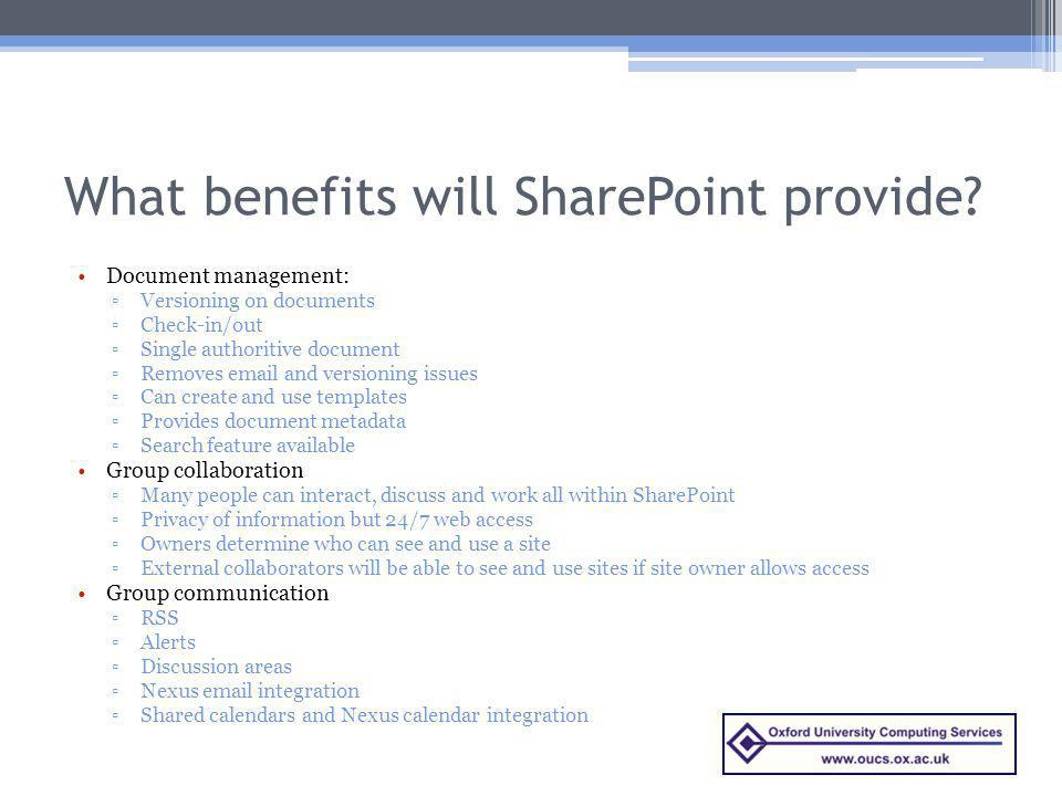 What benefits will SharePoint provide