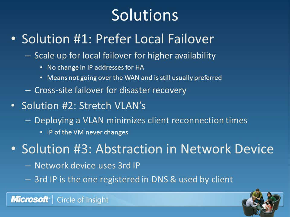 Solutions Solution #1: Prefer Local Failover