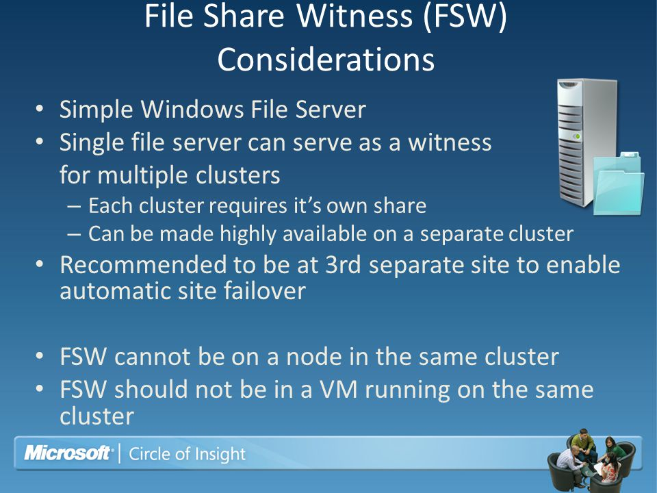 File Share Witness (FSW) Considerations
