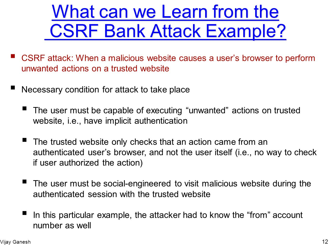 What can we Learn from the CSRF Bank Attack Example