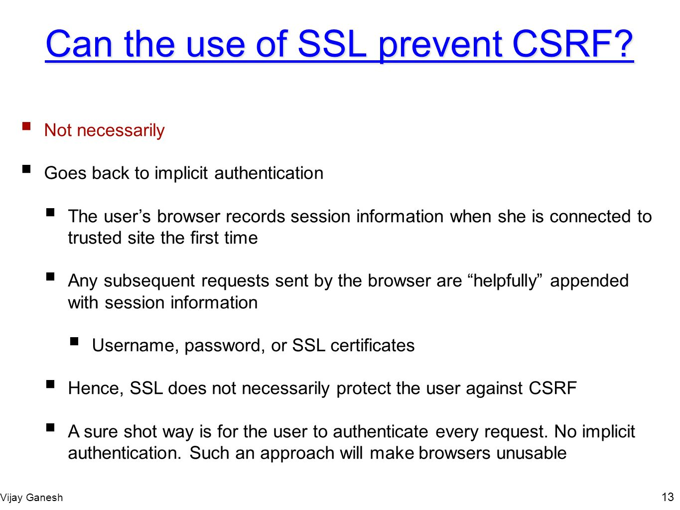 Can the use of SSL prevent CSRF