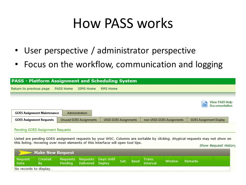 How PASS works User perspective / administrator perspective