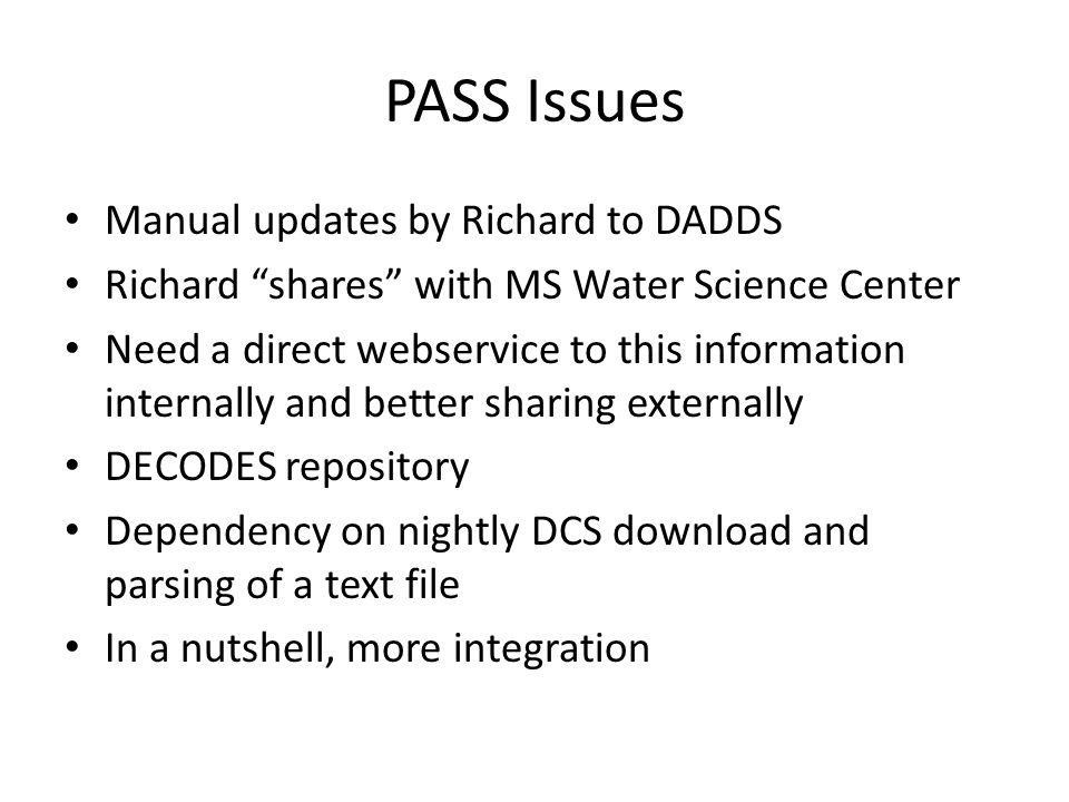 PASS Issues Manual updates by Richard to DADDS