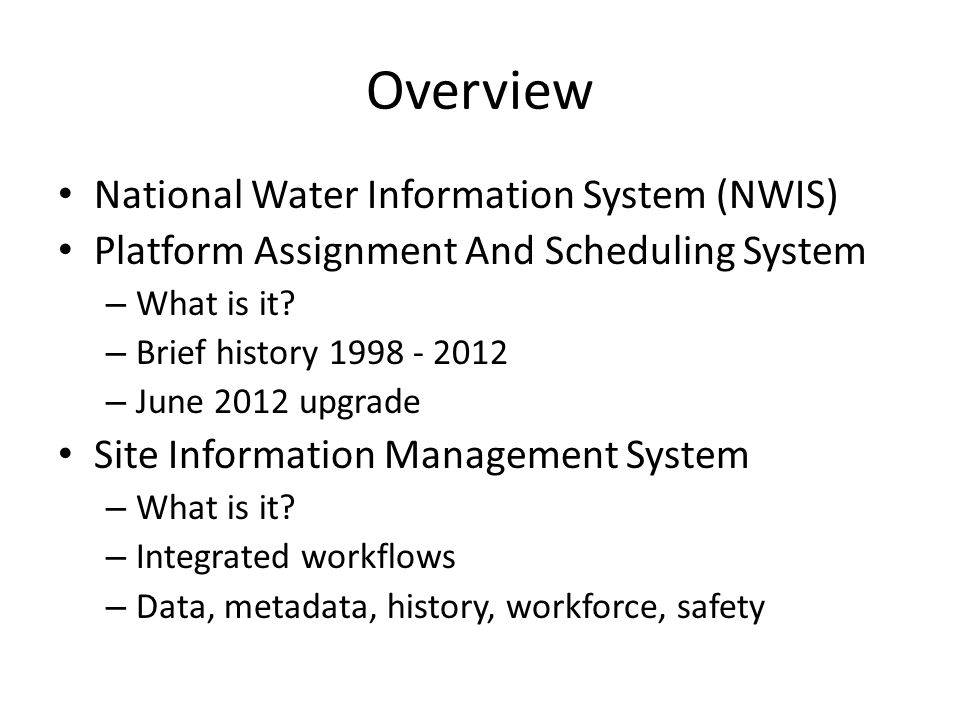 Overview National Water Information System (NWIS)