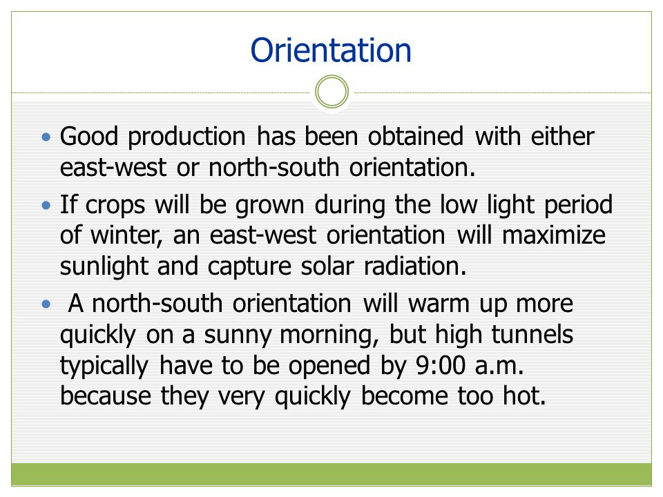Orientation Good production has been obtained with either east-west or north-south orientation.