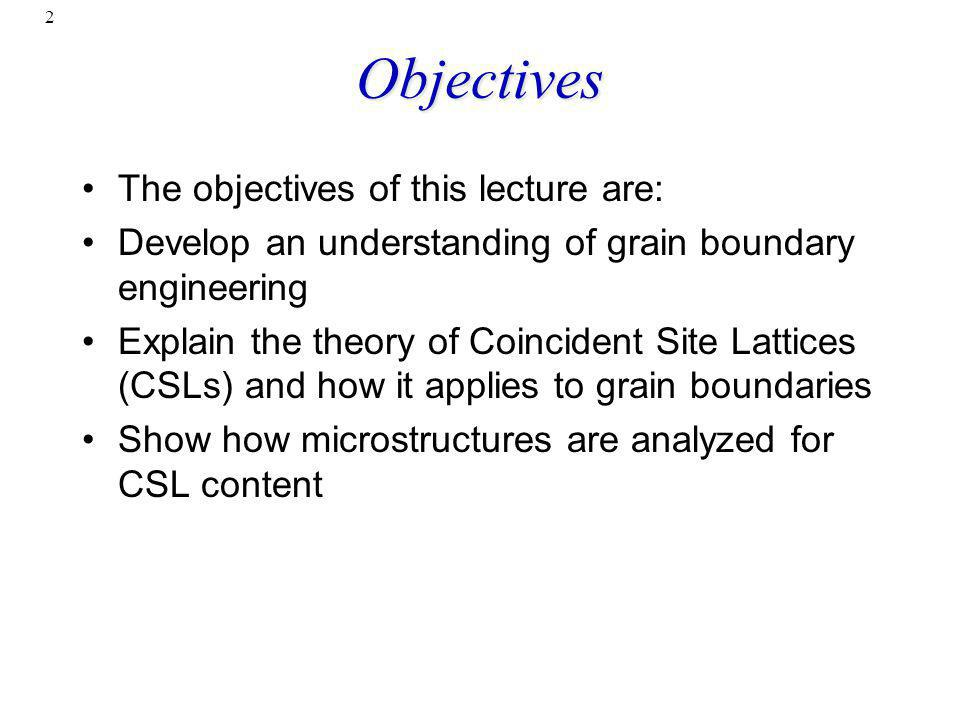 Objectives The objectives of this lecture are: