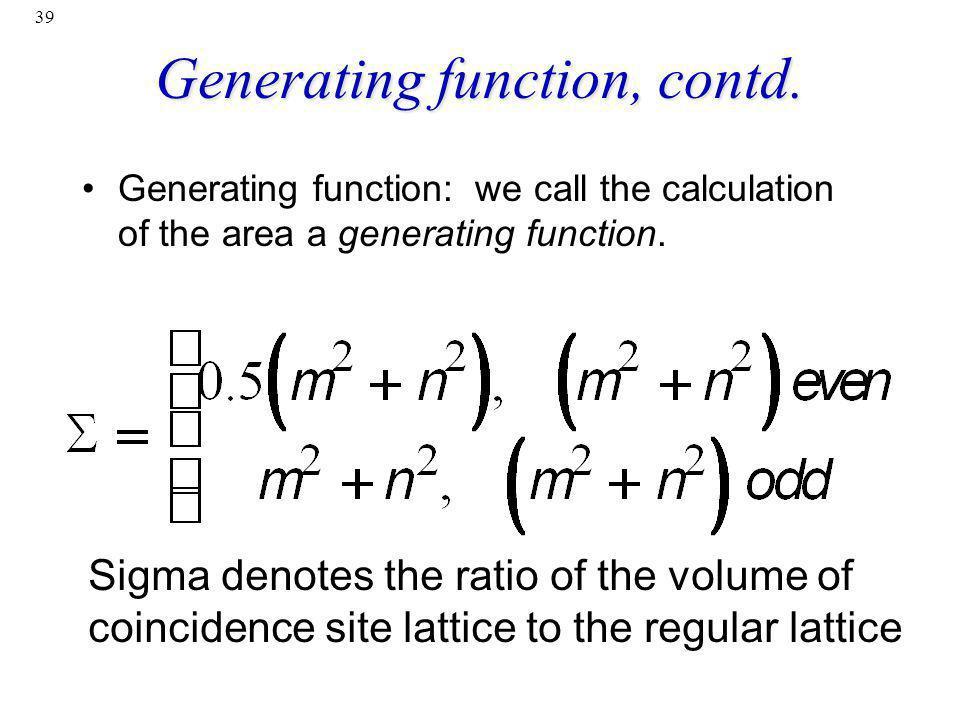 Generating function, contd.