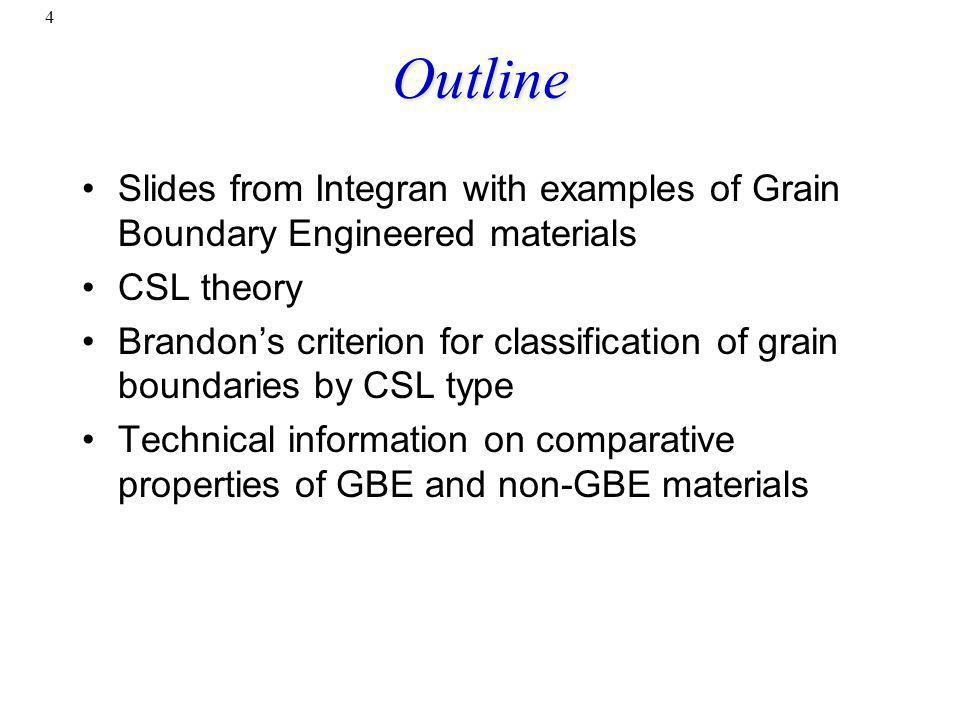 Outline Slides from Integran with examples of Grain Boundary Engineered materials. CSL theory.