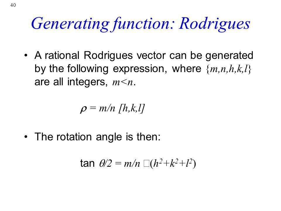 Generating function: Rodrigues