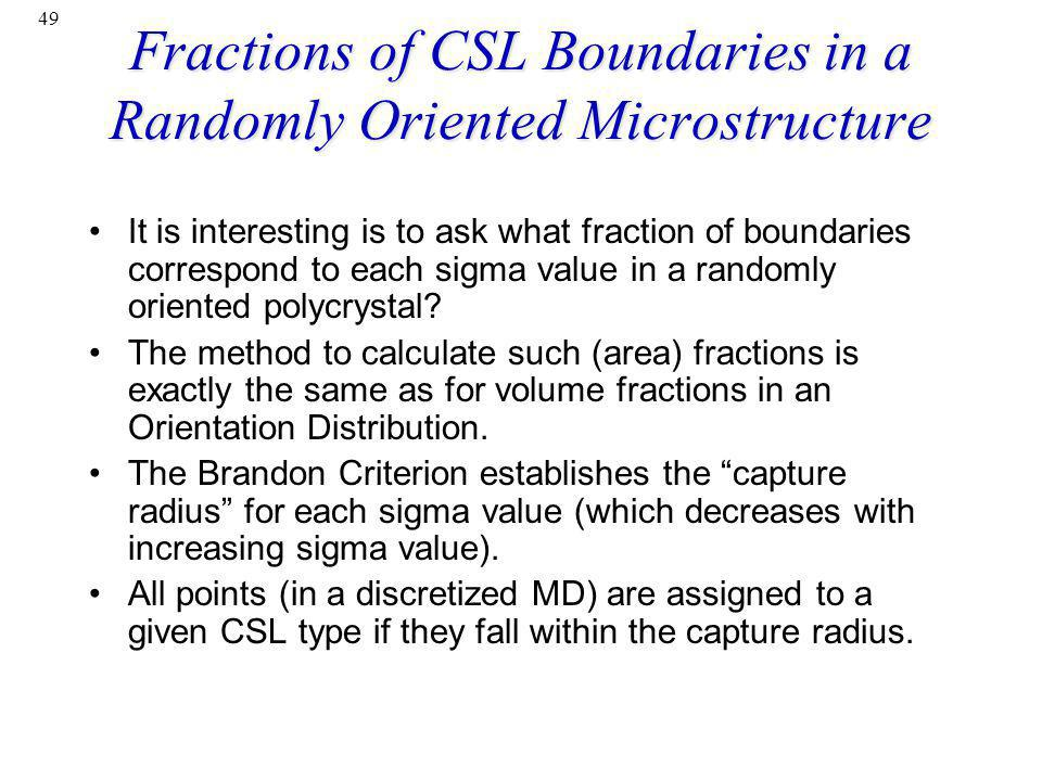Fractions of CSL Boundaries in a Randomly Oriented Microstructure