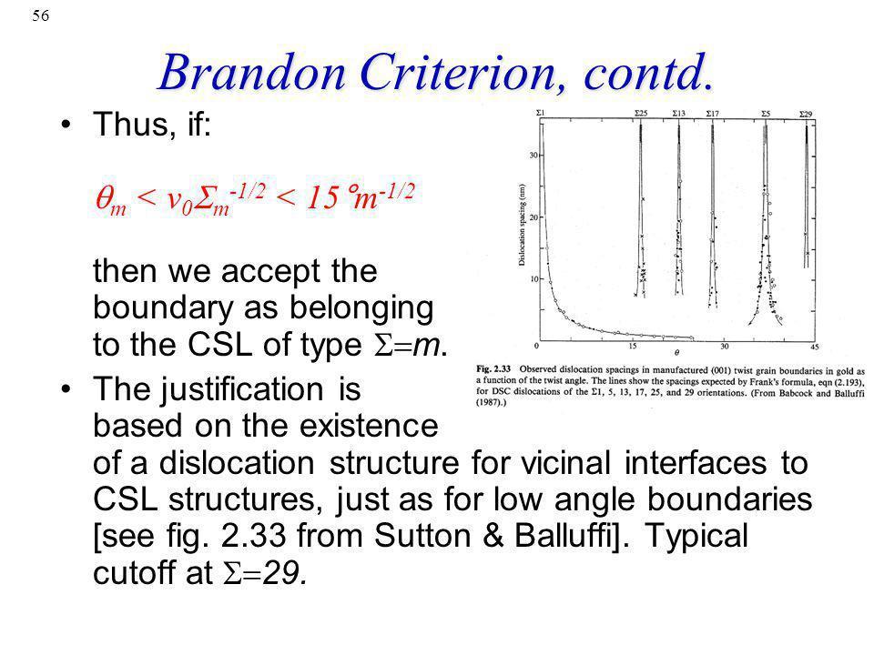 Brandon Criterion, contd.