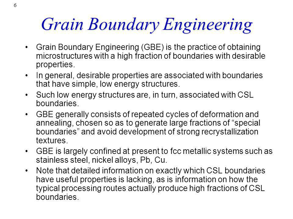 Grain Boundary Engineering