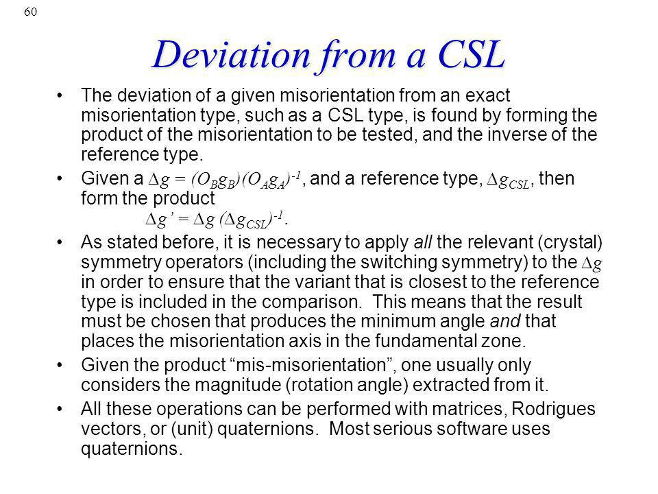 Deviation from a CSL