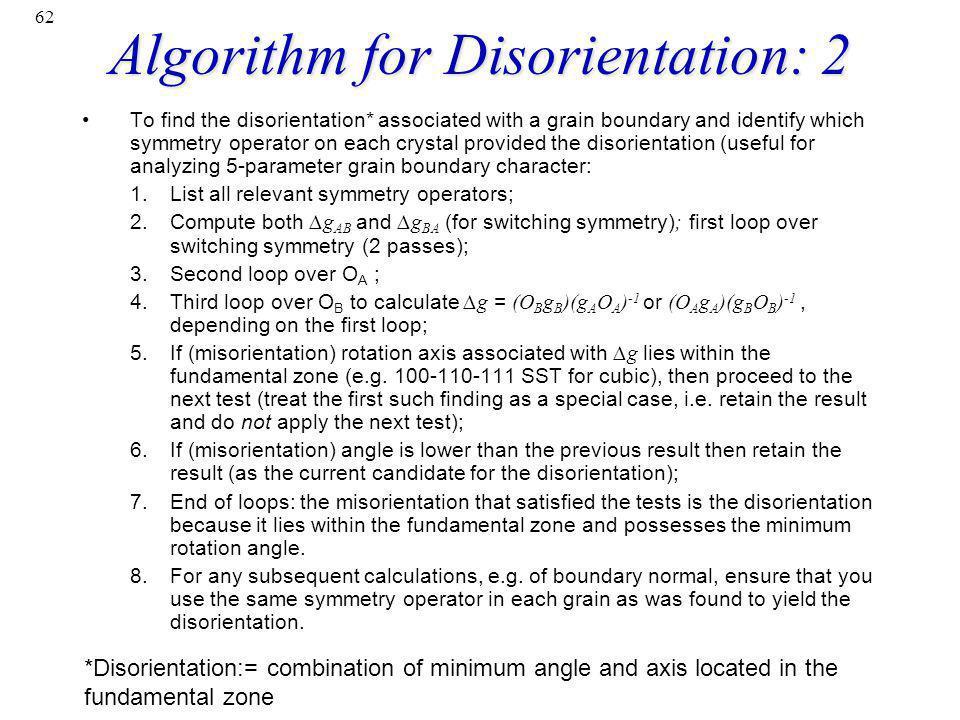 Algorithm for Disorientation: 2