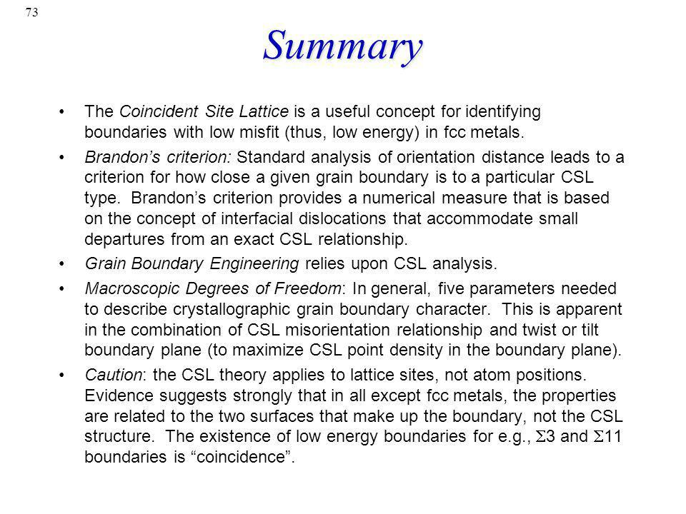 Summary The Coincident Site Lattice is a useful concept for identifying boundaries with low misfit (thus, low energy) in fcc metals.