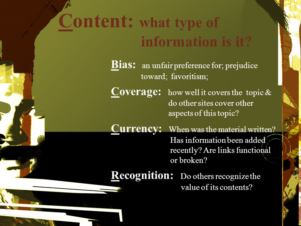 Content: what type of information is it